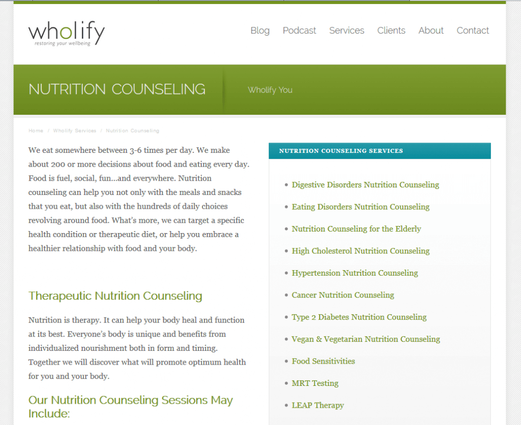 Wholify Nutrition Counseling Screenshot