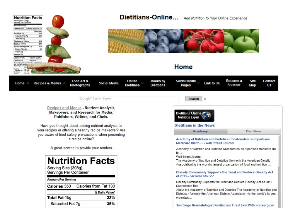 Dietitians-Online website