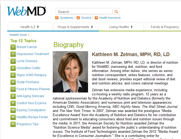 Kathleen's WebMD page