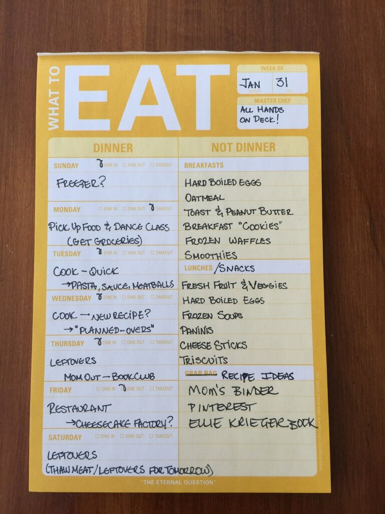 our weekly meal planner