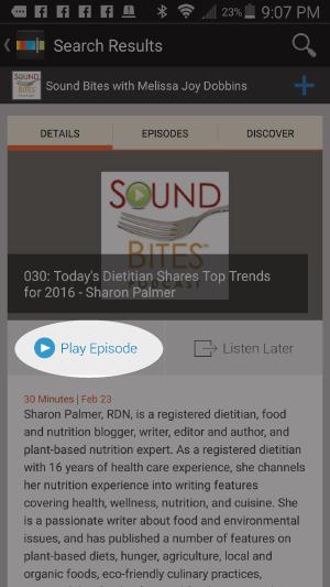 "Choose ""Play Episode"""