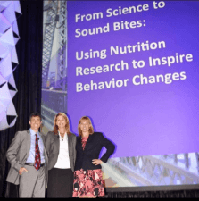 Pic of us speaking at FNCE with caption Dr. David Katz, Dr. Britt Burton-Freeman, and Melissa before the presentation at FNCE (photo credit: Nani Glass)