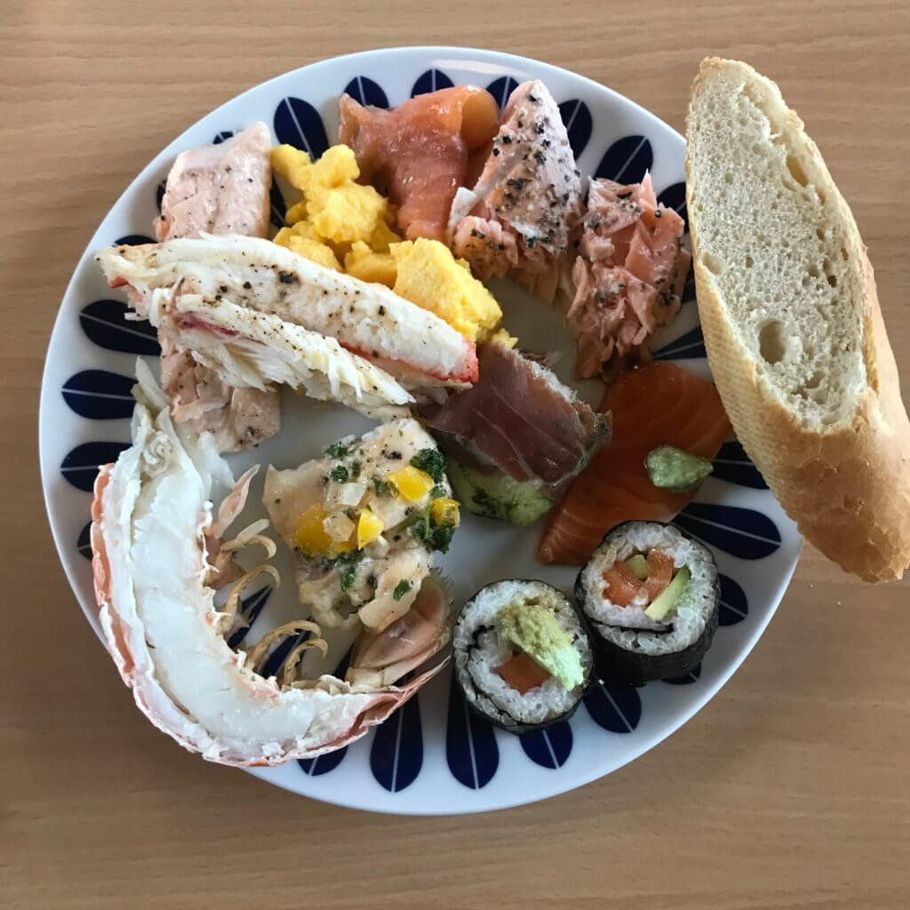 Lunch of mixed seafood at Steinvik Fiskefarm, Eikefjord